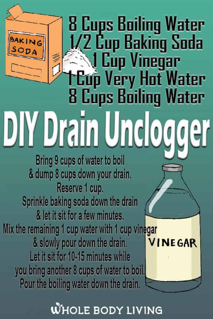 DIY Drain Unclogger recipe to unclog a slow drain