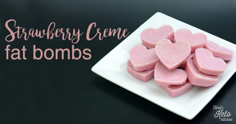 Strawberry Creme Fat Bombs on a plate with title