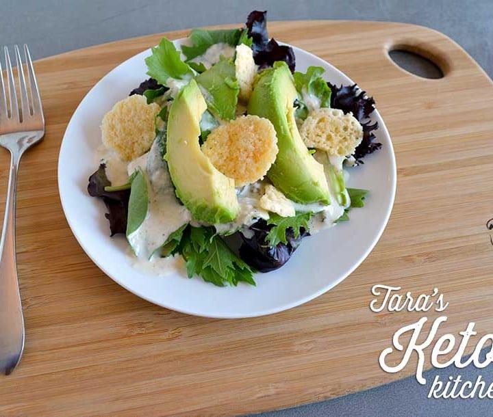 Caesar Salad Dressing with Kefir on Salad