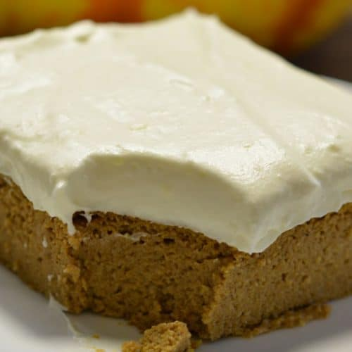 Keto Pumpkin Bars with Maple Cream Cheese Frosting on a plate