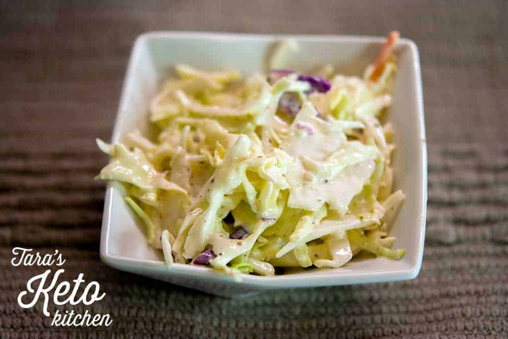 Keto Coleslaw on plate