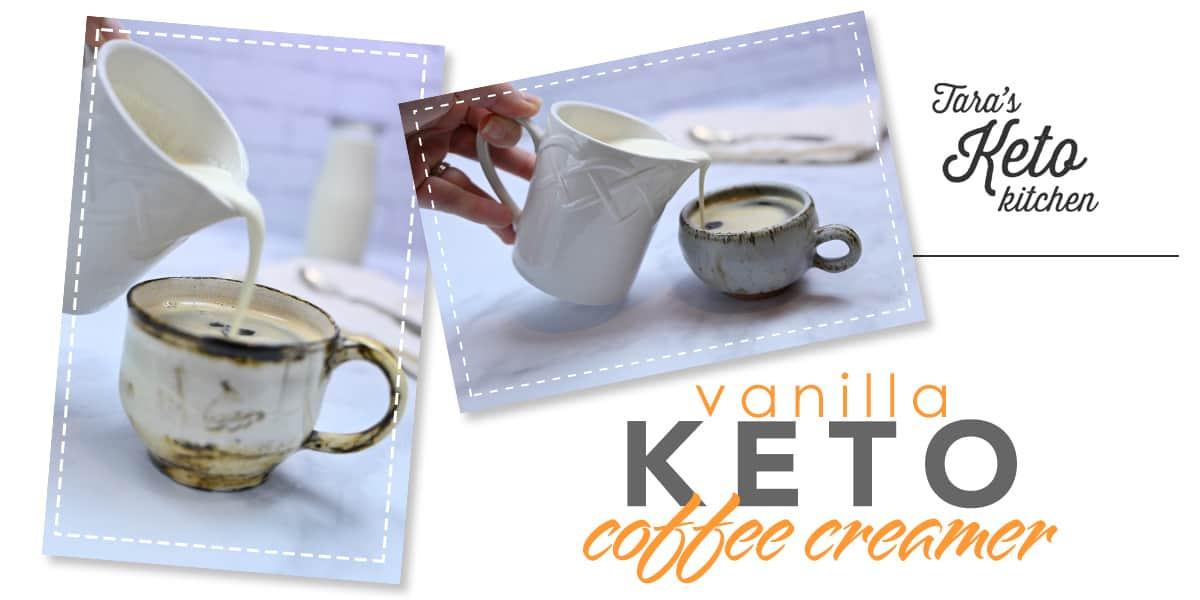 Keto Vanilla Coffee Creamer pouring on coffee