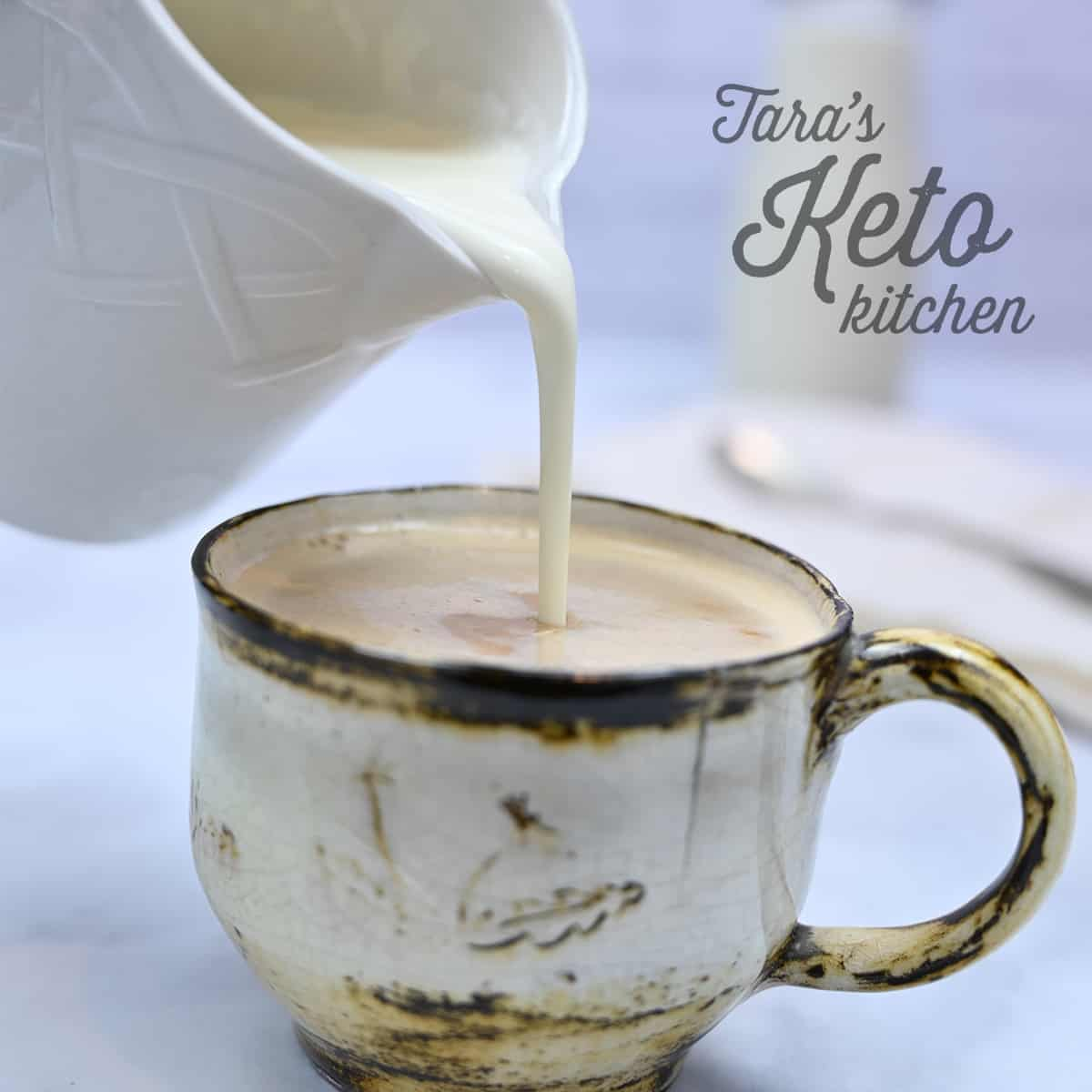 Keto Vanilla Coffee Creamer pouring on coffee