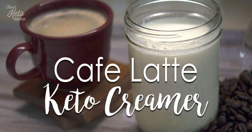 Cafe Latte Keto Creamer with title on glass and coffee