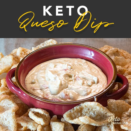 Keto Queso Dip served in a bowl with pork rinds