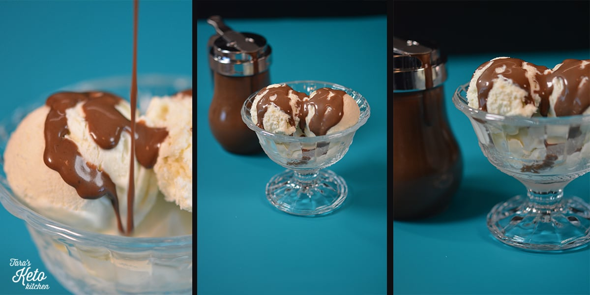 keto hot fudge sauce recipe poured over an ice cream keto