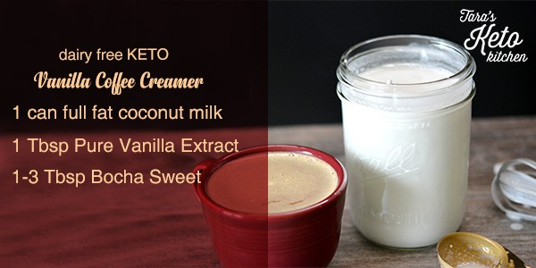 Dairy Free Keto Vanilla Coffee Creamer with a cup of coffee ingredients