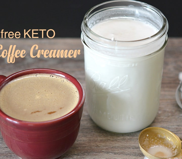 Dairy Free Keto Vanilla Coffee Creamer with a cup of coffee with title