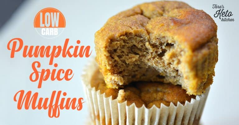 close up image Low Carb Pumpkin Spice Muffins with title