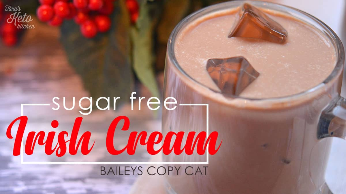 creamy sugar free irish cream poured in a glass mug