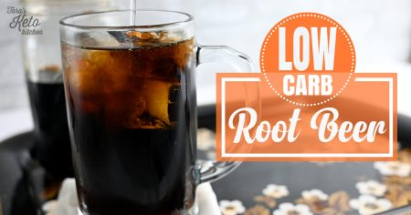low carb rootbeer featured image showing a mug full of fizzy low carb rootbeer with ice
