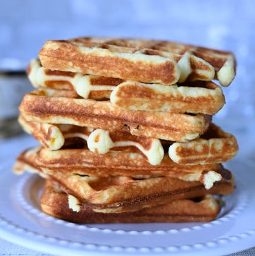 Keto Coconut Flour Waffles stacked together