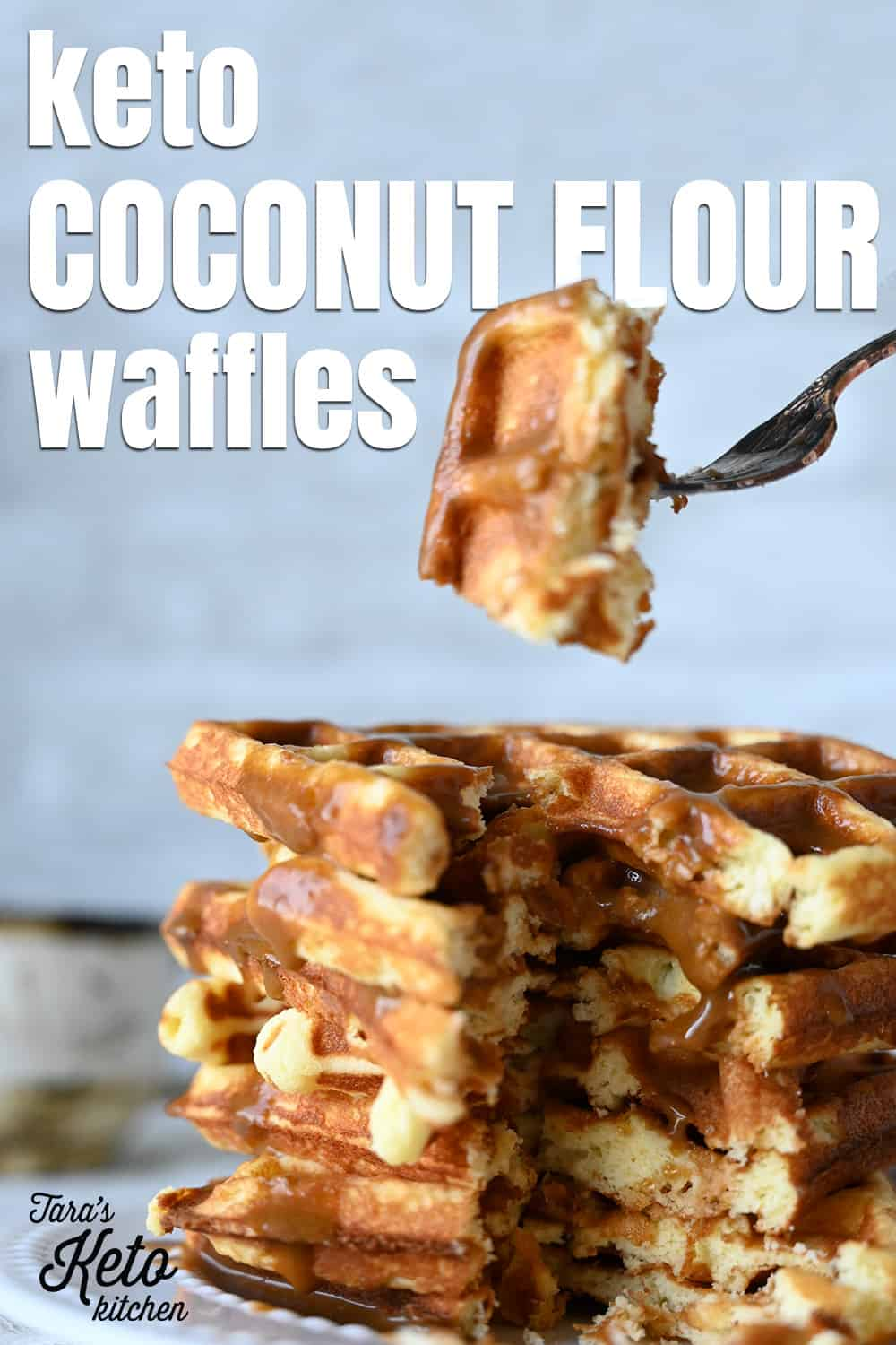 Keto Coconut Flour Waffles stacked together with title