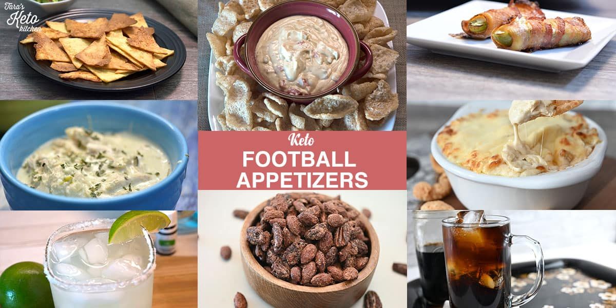 keto football appetizers header graphic showing pictures of 8 different apps