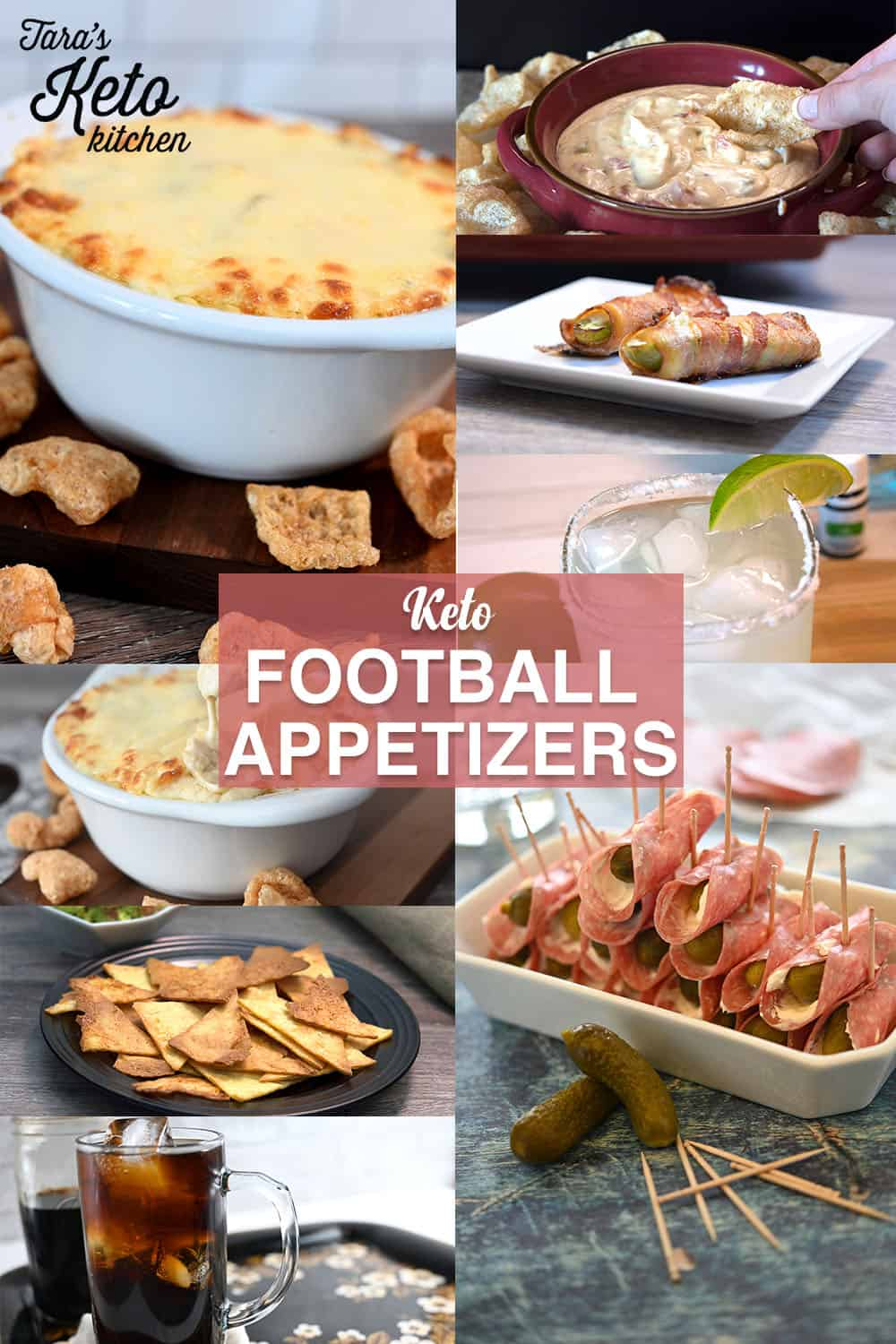 pinterest graphic with many keto football appetizers shown
