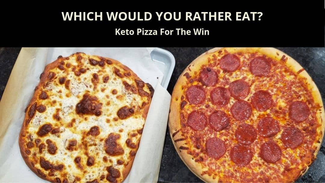 which one would you rather eat? low carb pizza on the left or a frozen baked one from the grocery freezer section on the right?