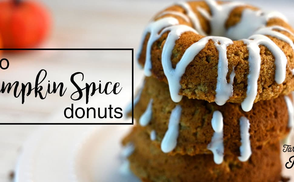 close up image of Keto Pumpkin Spice Donuts with title