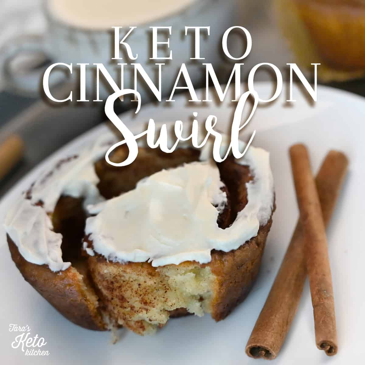 Keto Cinnamon Swirl with frosting with title