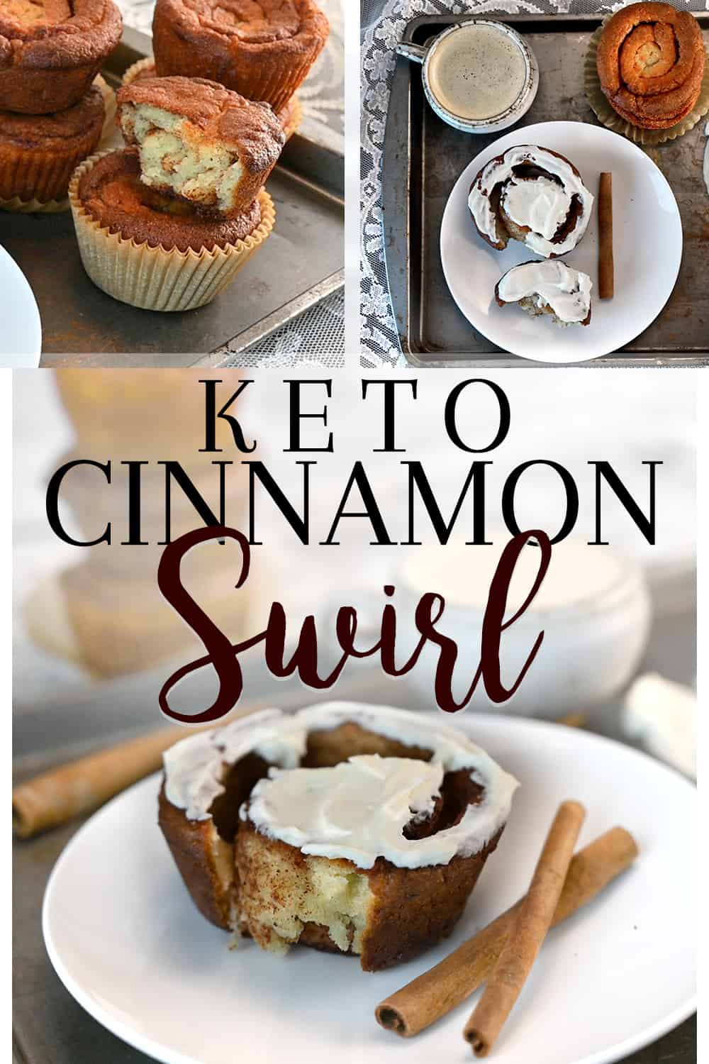 Keto Cinnamon Swirl overhead and side picture shown with frosting