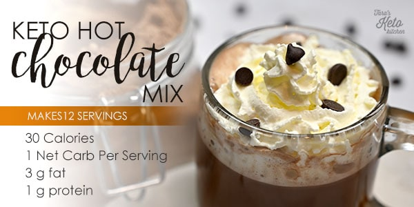 Keto Hot Chocolate Mix in a cup with whip cream and chocolate bits