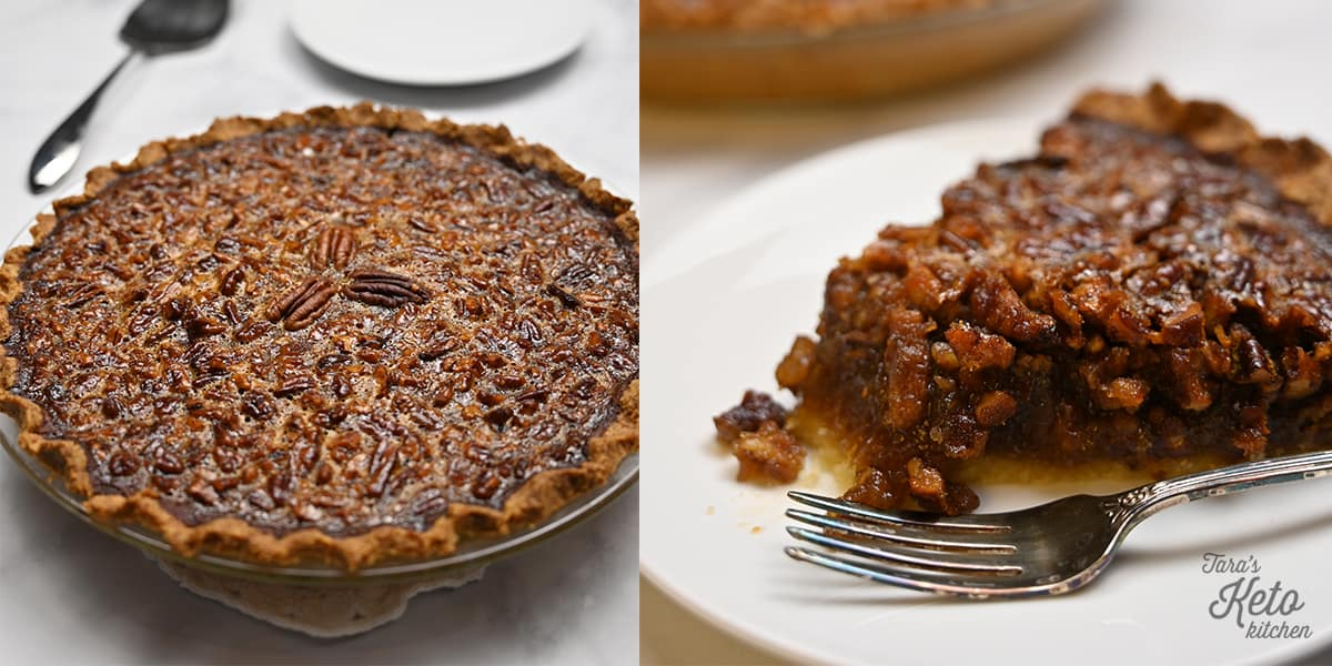 Keto Pecan Pie on a plate