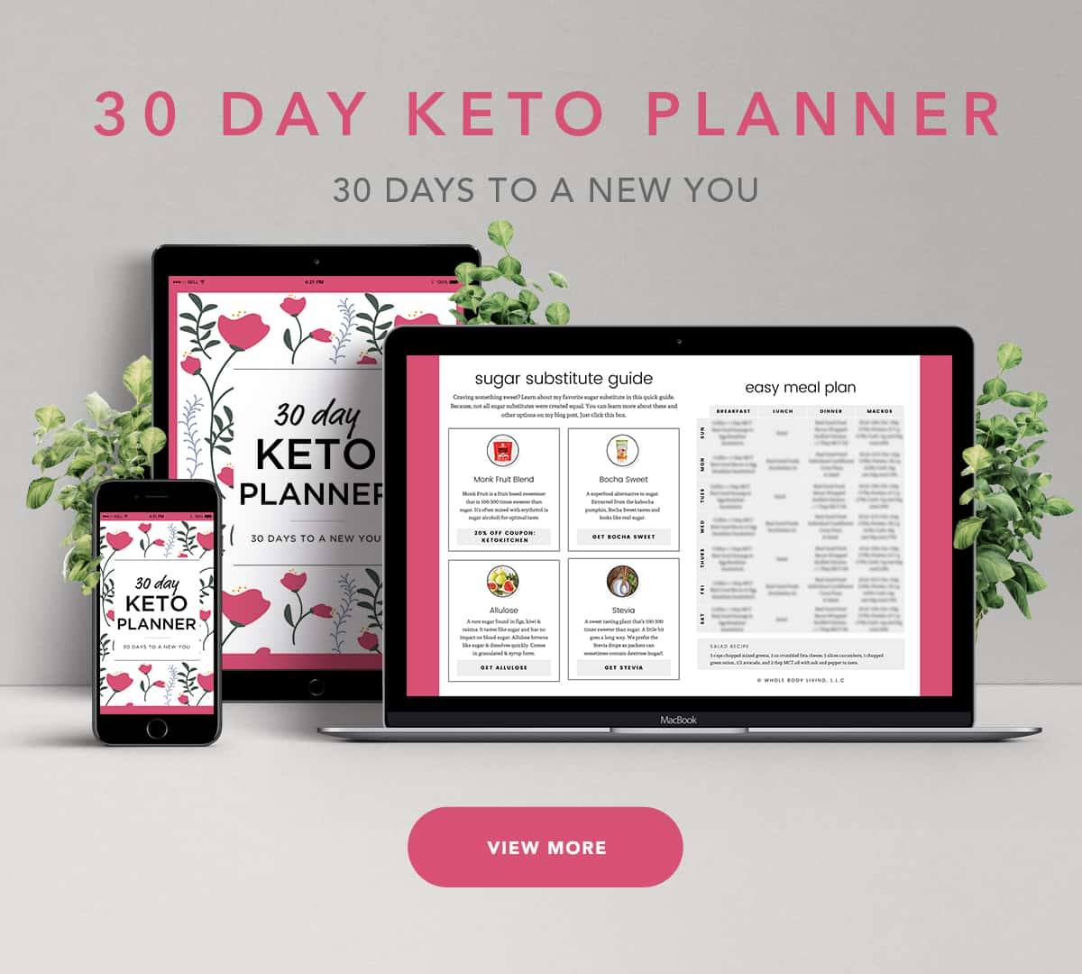 30 day keto planner on screens