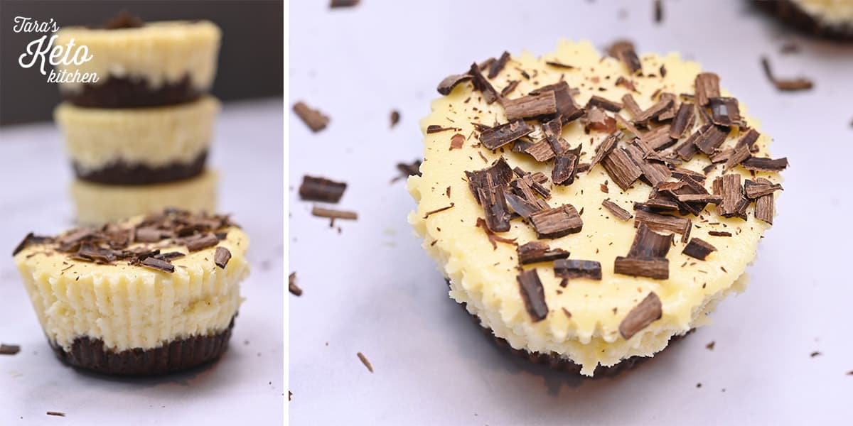 keto mini cheesecakes stacked on top of each other with shredded chocolate on top