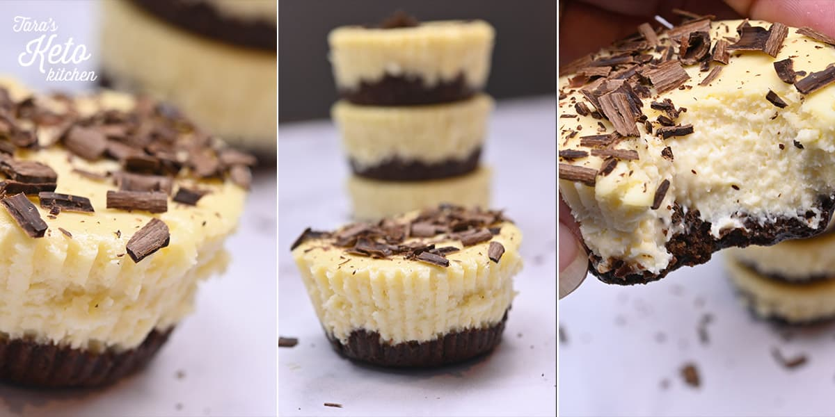 Keto Mini Cheesecakes with Gooey Brownie Batter Crust three images the best with a bite taken out of it