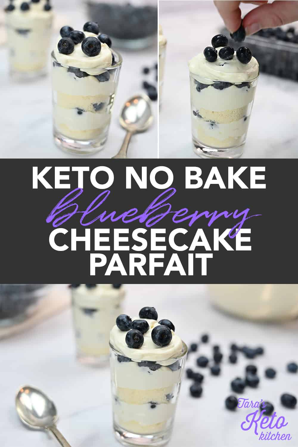 Keto No Bake Blueberry Cheesecake Parfait served in a glass with fresh blueberries