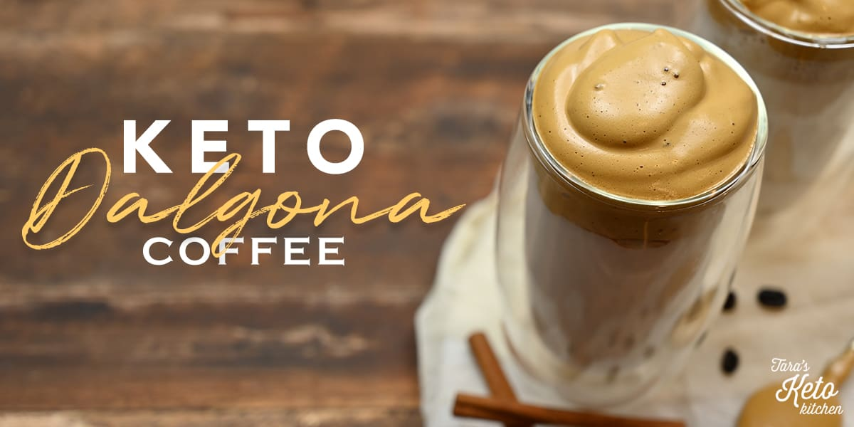 Keto Dalgona Coffee served in a glass with cinnamon sticks