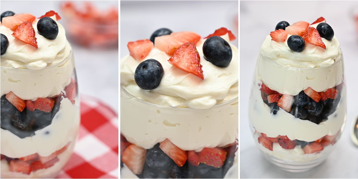 keto patriotic cheesecake parfait shown in a stemless wineglass with a closeup image showing berries on top