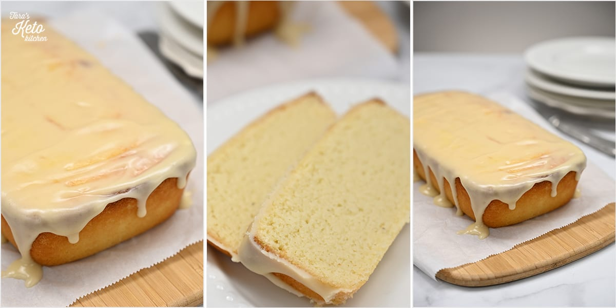 glazed keto pound cake grid of three images