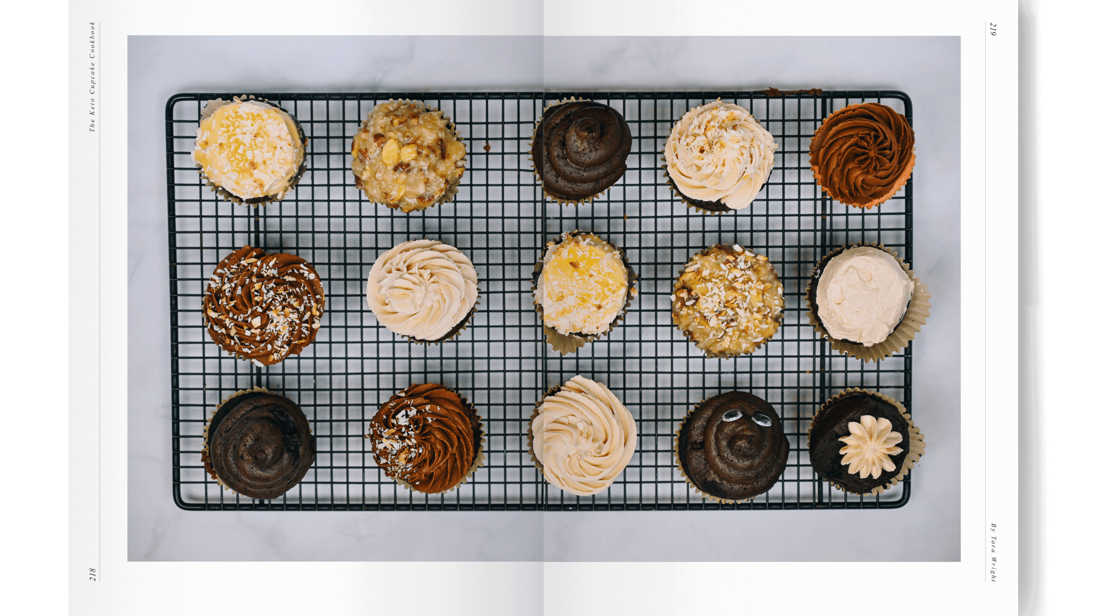 keto cupcake cookbook with 12 keto cupcakes on a cooling rack