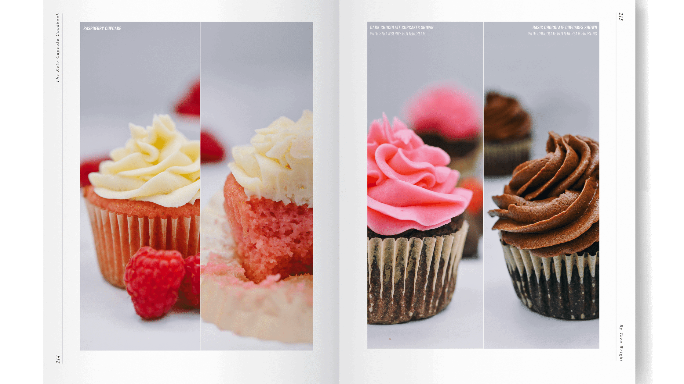 keto cupcake cookbook with raspberry cupcakes