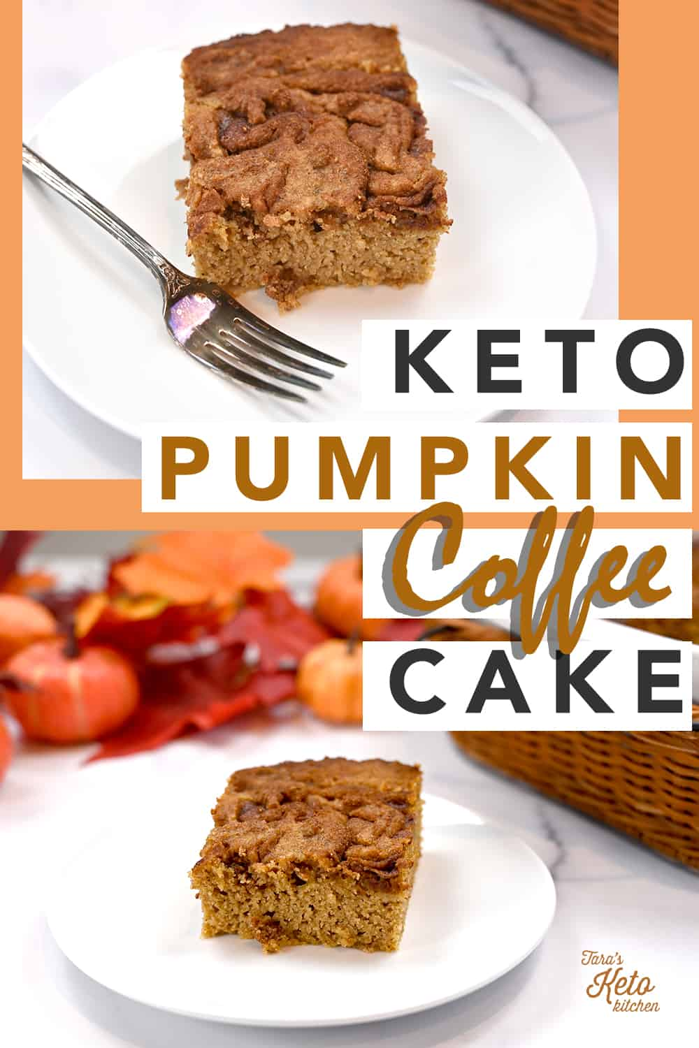 keto pumpkin coffee cake pinterest image with a piece on a white plate and a fork beside it