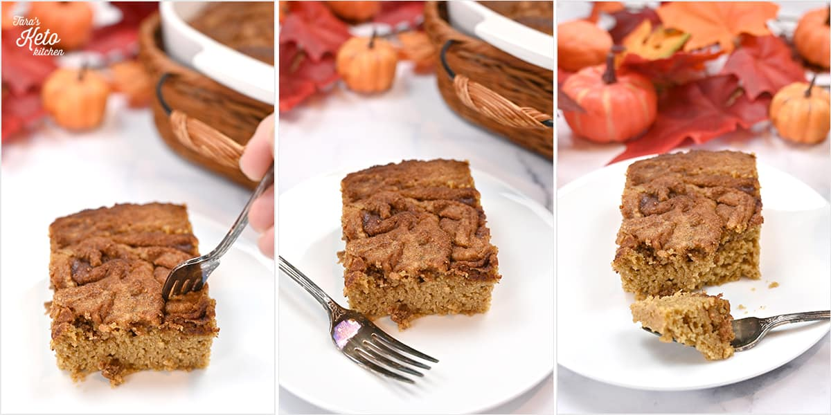 a bite being taken out of keto pumpkin coffee cake with a shiny fork. pumpkins and fall leaves are in the background.
