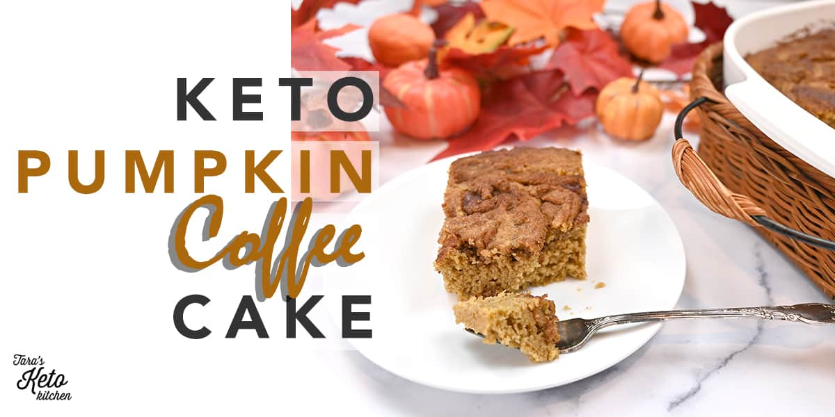 keto pumpkin coffee cake shown with a bite on a fork. the pan of cake is shown beside the plate.