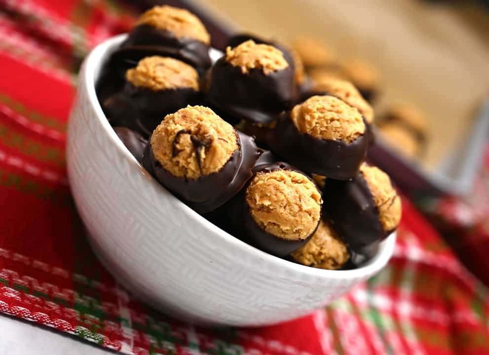 Low-Carb Peanut Butter Buckeyes in a bowl the perfect way to stick to your keto diet for the holidays