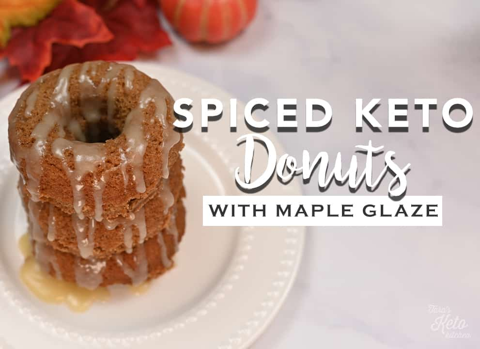 Spiced Keto Donuts With Maple Glaze stacked on a plate