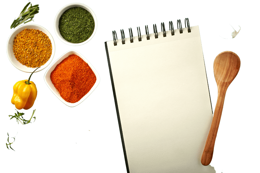 free keto meal plan image showing a notepad surrounded by ingredients
