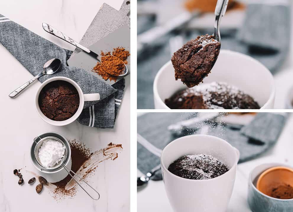 keto chocolate mug cake top and side views