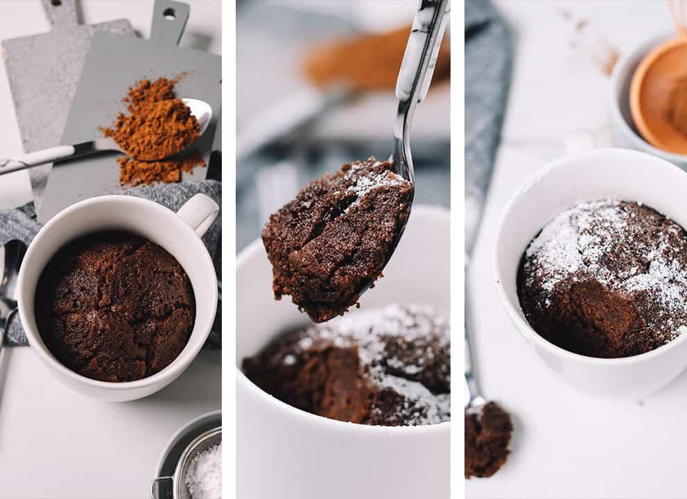 three varying views of the chocolate mug cake in white mug