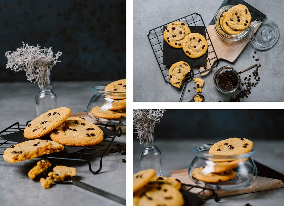 three different artistic photos of Keto Chewy Chocolate Chip Cookies