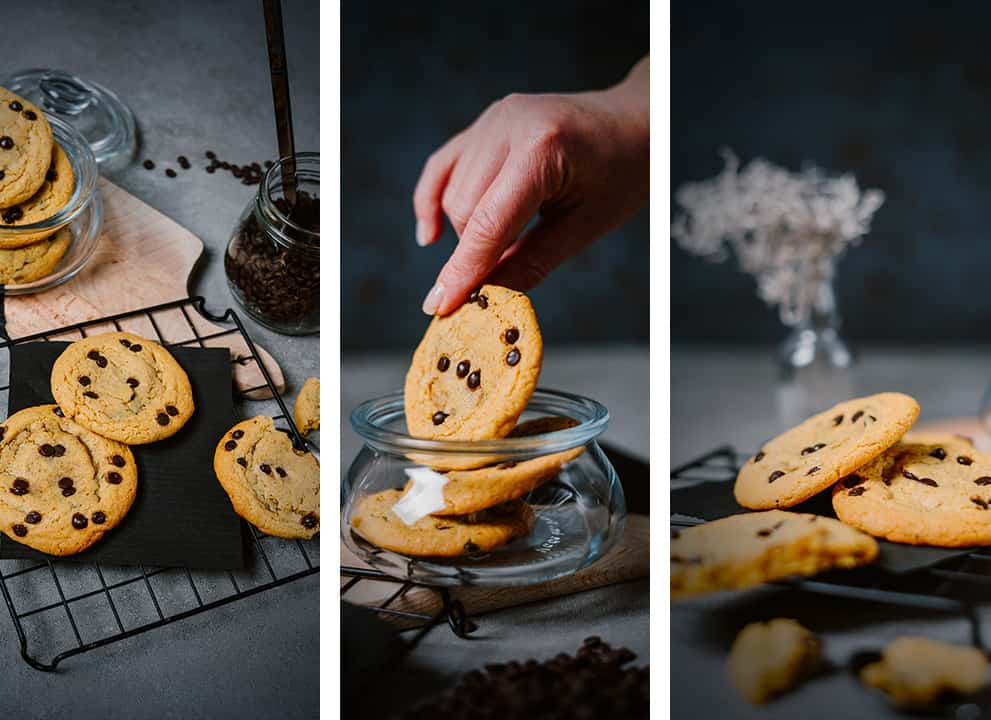 three different photo views of Keto Chewy Chocolate Chip Cookies