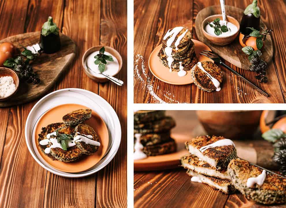 three different views of top keto eggplant parmesan
