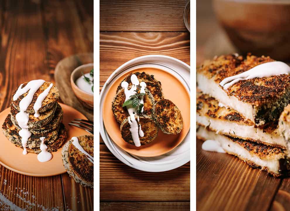 three different views of keto eggplant parmesan