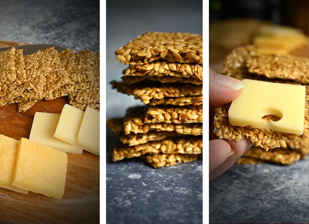 keto flaxseed crackers with cheese photo