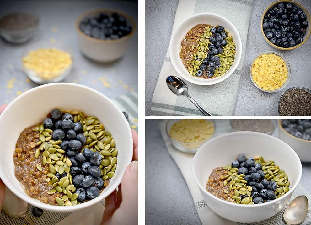 Three different photos of Low Carb Oatmeal in a bowl