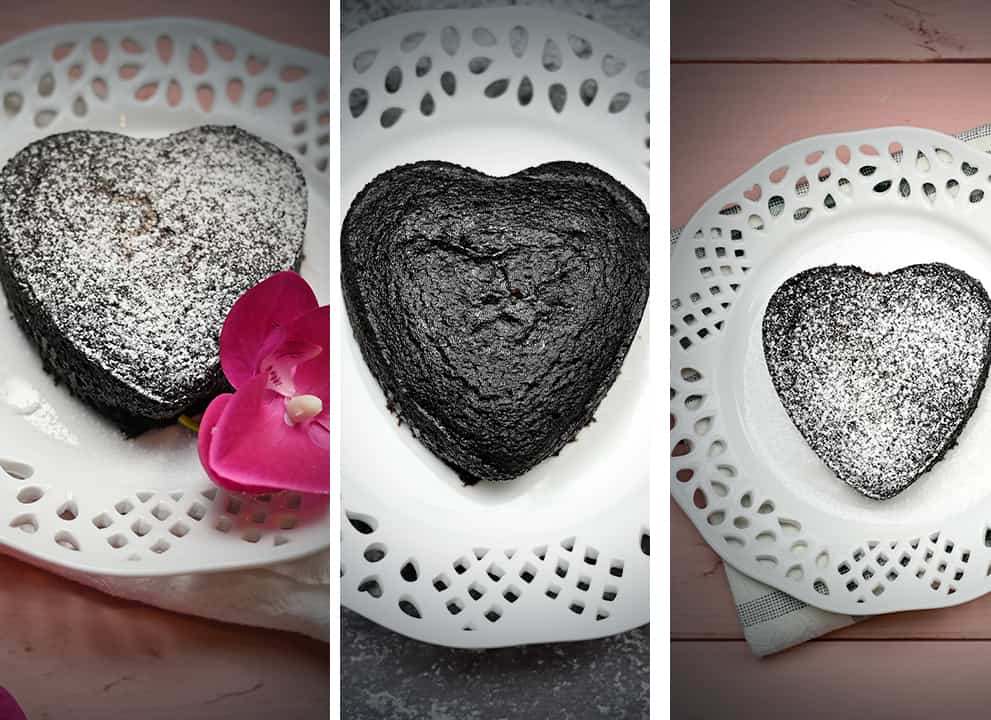 Mini Keto Heart Cake on a plate sprinkled with powdered sugar
