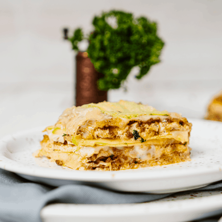 close up of keto lasagna with zucchini